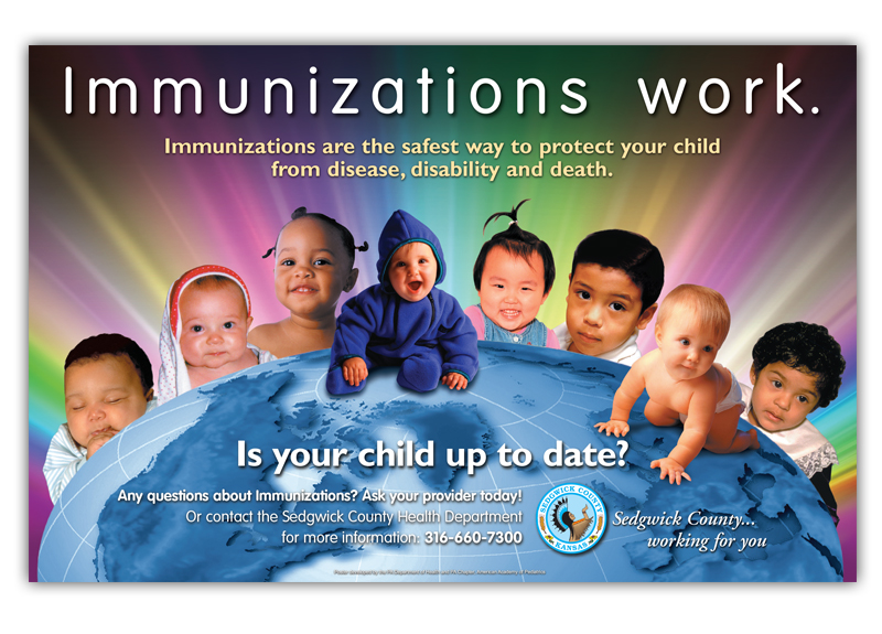 """Immunizations Work"" Poster Custom design poster for the Immunization Education Program of the PA Chapter, American Academy of Pediatrics. Posters were displayed in Pediatric practices throughout the state of Pennsylvania. (Click thumbnail below for larger image)"