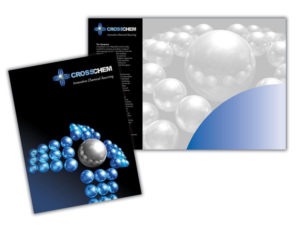 CrossChem  9 x 12 inch custom presentation folder. 3D CrossChem logo modeling and folder designed by Weiss Communications.   (Click thumbnails below for larger images)