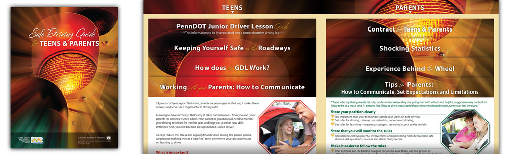 TIPP Safe Drivers Guide.  9 x 12 inch folder with page inserts. Produced for the PA Chapter, American Academy of Pediatrics, Traffic Injury Prevention Program (Click thumbnails below for larger images)
