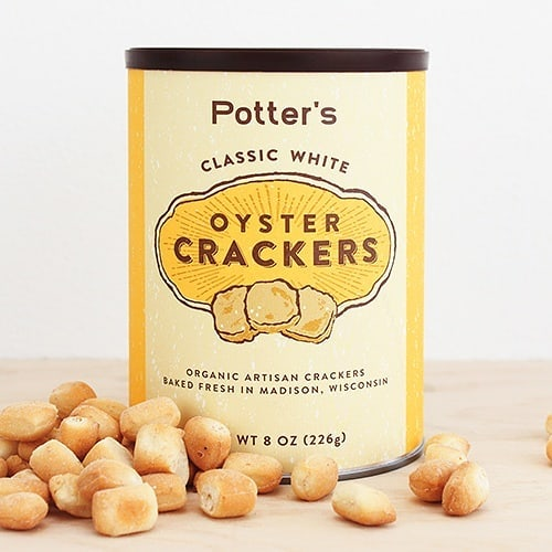 Potter's Oyster Crackers are back!!! Spruce up your soup, grab a quick snack on the go, or bedazzle your cheese and charcuterie platter with these organic, handmade crackers. Available in Classic White, Wisconsin Cheddar🧀, Rosemary Thyme🌿, and Applewood Smoked 💨.