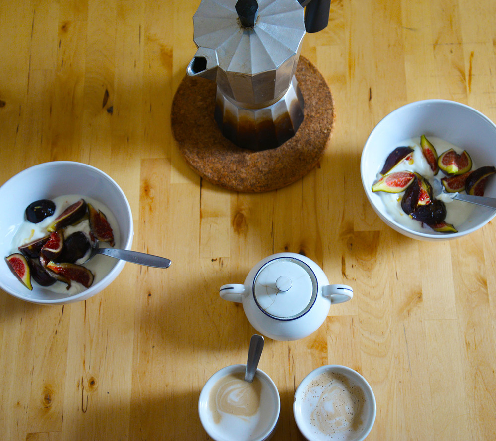 Figs, yogurt, and honey with espresso made in a Moki and foamed milk.