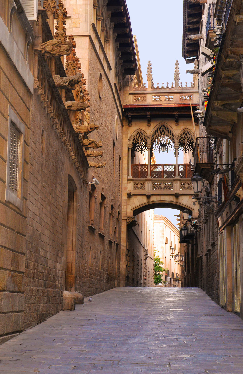 Bridge over Carrer del Bisbe, Joan Rubió  , linking the   Palau de la Generalitat   (Catalan Government Seat) with the   Casa dels Canonges   (residence of the President).