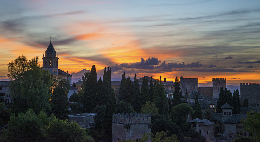 Sunset from the Lower Gardens of the Generalife, Granada