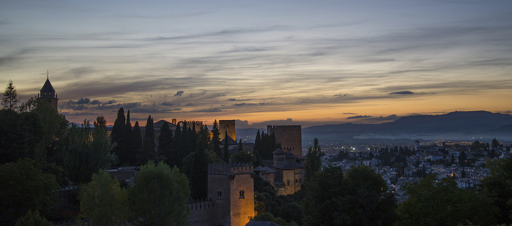 Twilight from the Lower Gardens of the Generalife, Granada