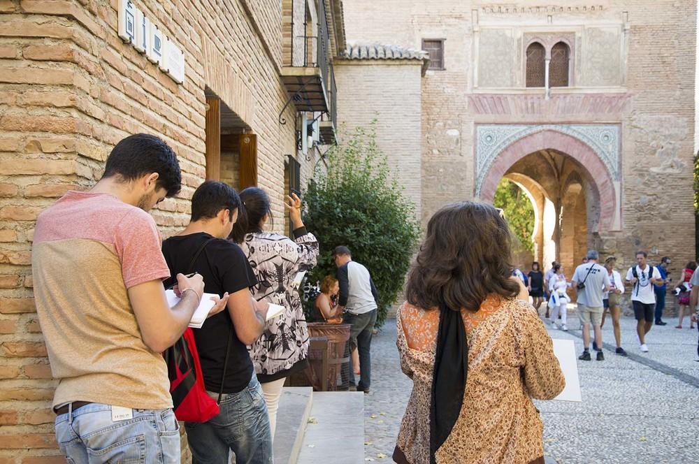 AlhambraStudentsSketching