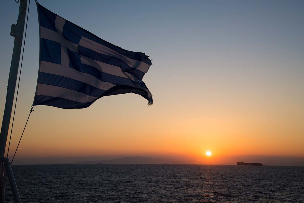 Sunset from a ferry departing the port of Piraeus, Athens
