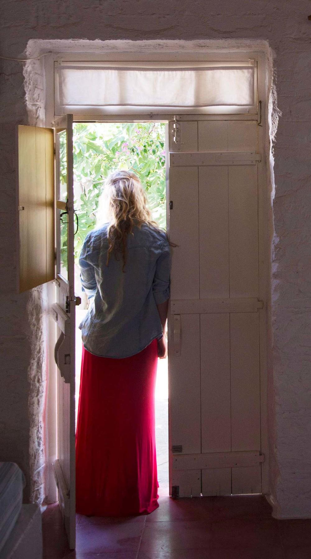 Chelsea at the Anezina Village, Paros