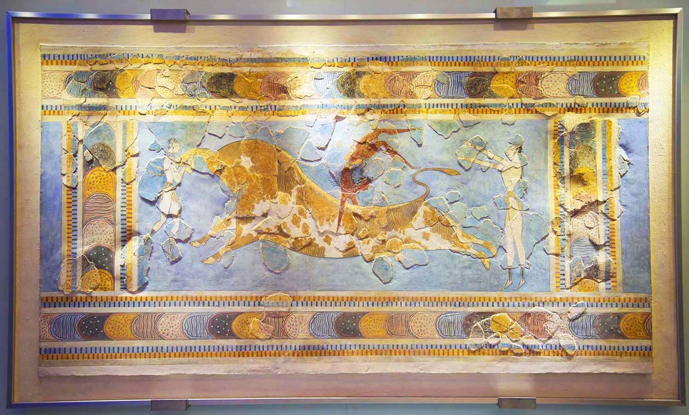 Bull Leaping Fresco from the Palace at Knossos, 17th - 16th Centuries BC, Heraklion, Crete