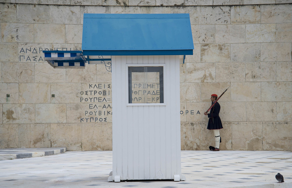 Evzoni (presidential guard) on duty at the Tomb of the Unknown Soldier, 2014, Athens