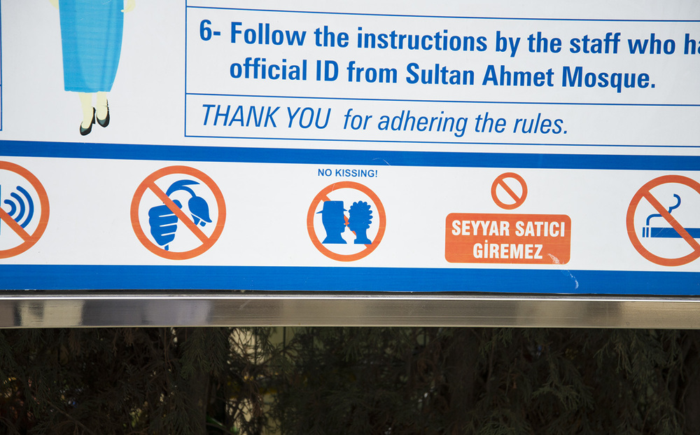 Sign at entry to Sultan Ahmet Camii, Istanbul