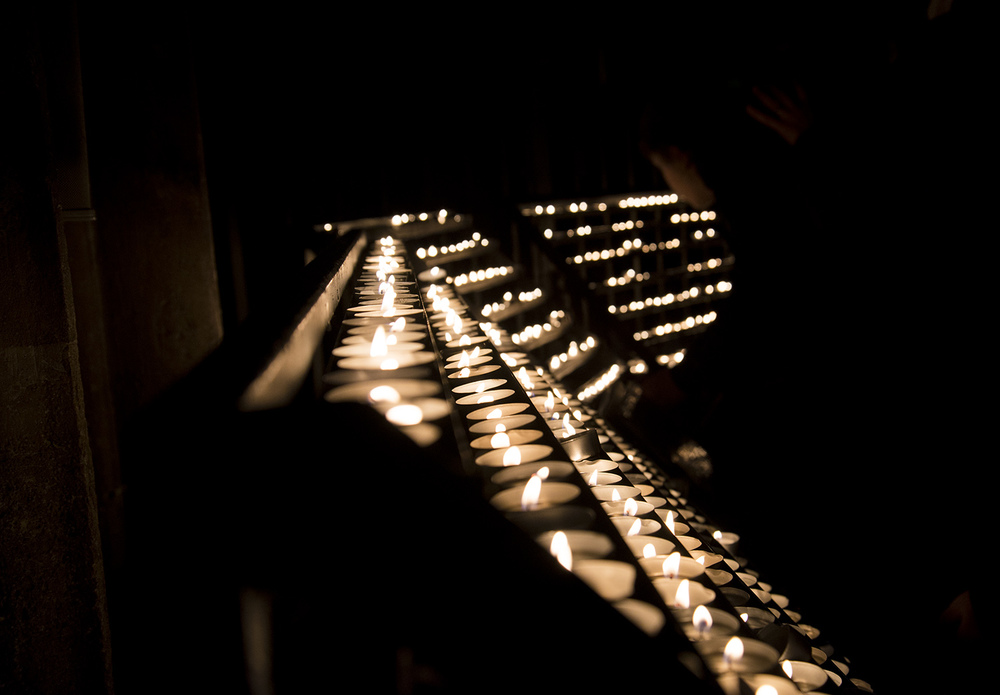 Prayer candles, Stephansdom, Vienna, Austria.