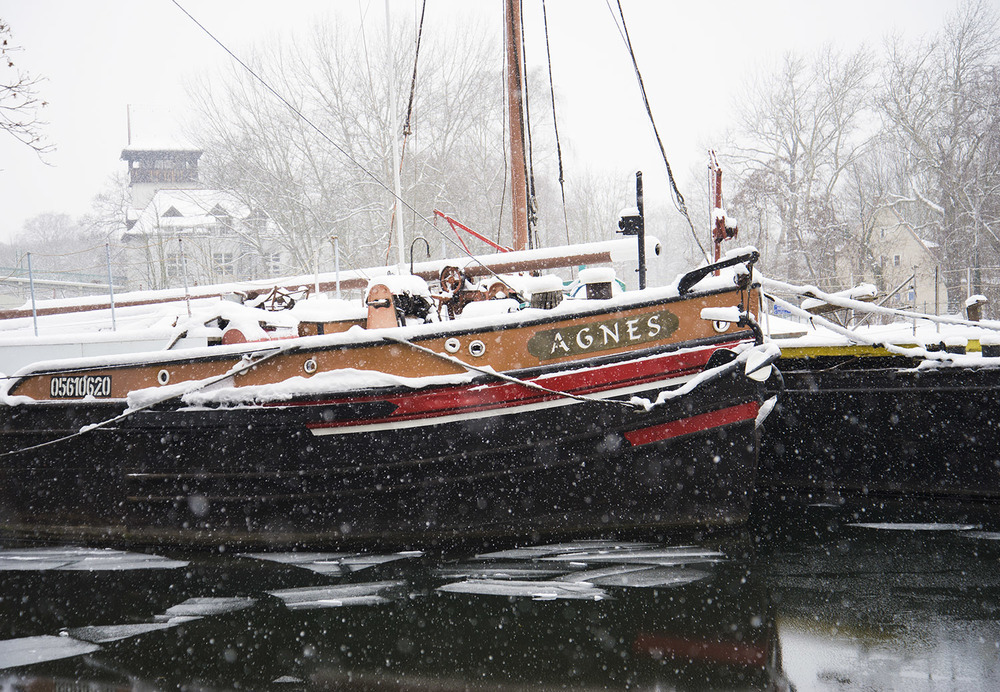 Boats Docked on the Spree River, Berlin
