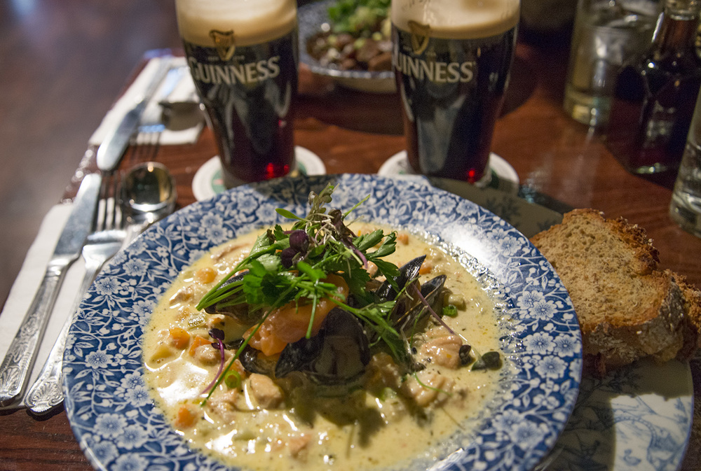 Seafood chowder and Guiness beer, The Old Storehouse, Dublin