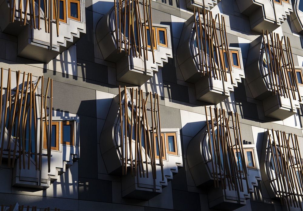 Exterior of Scottish Parliament Building, Enric Miralles, 2004, Edinburgh, Scotland