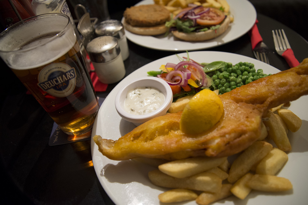 Fish and chips from a local pub.