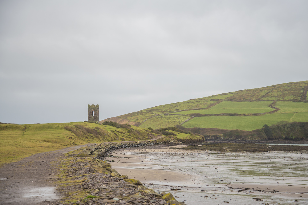 Remaining tower of a fallen building on the coast of Dingle, County Kerry,Ireland
