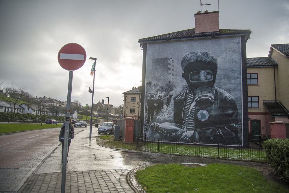 Conflict graffiti in the Bogside neighborhood, Derry, Northern Ireland