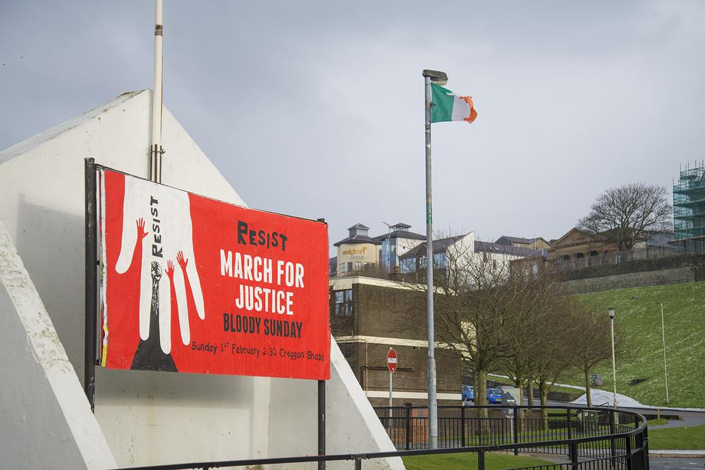 Bloody Sunday March poster, Bogside neighborhood, Derry, Northern Ireland