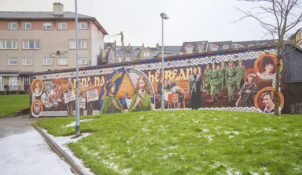 Mural of women soldiers, Bogside neighborhood, Derry, Northern Ireland