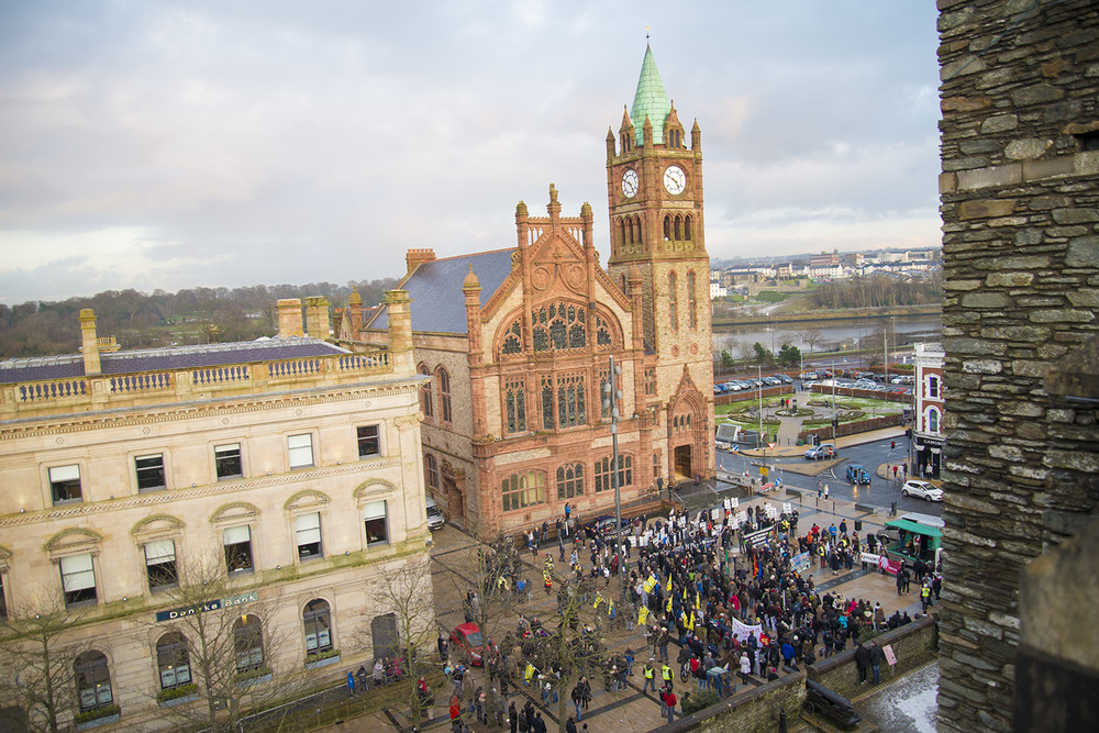 Bloody Sunday Civil Rights March, in front of The Guildhall, Derry, Northern Ireland