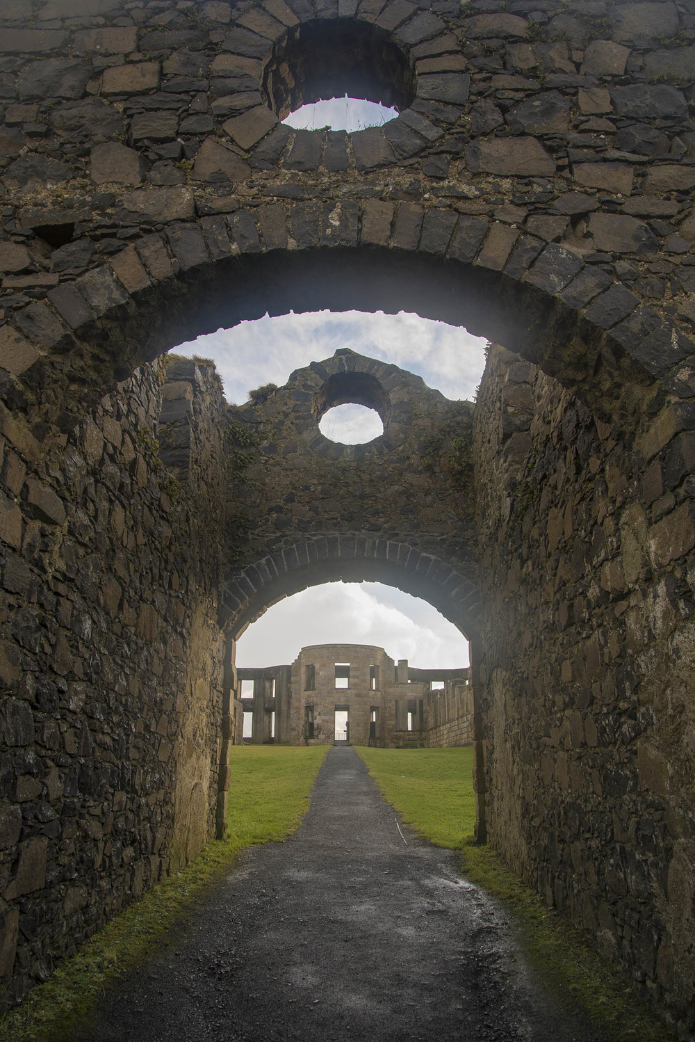 Archway and interior of Downhill Castle, Frederick Hervey, 4th Earl of Bristol, 18th Century, County Londonderry, Northern Ireland