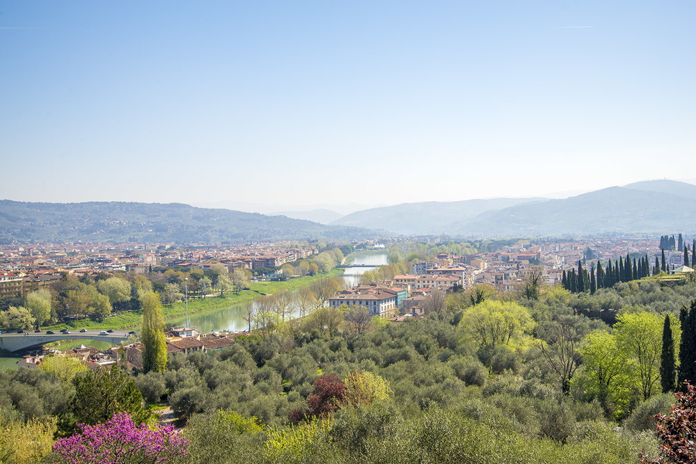 The River Arno seen from Piazzale Michelangelo, Firenze, Italia