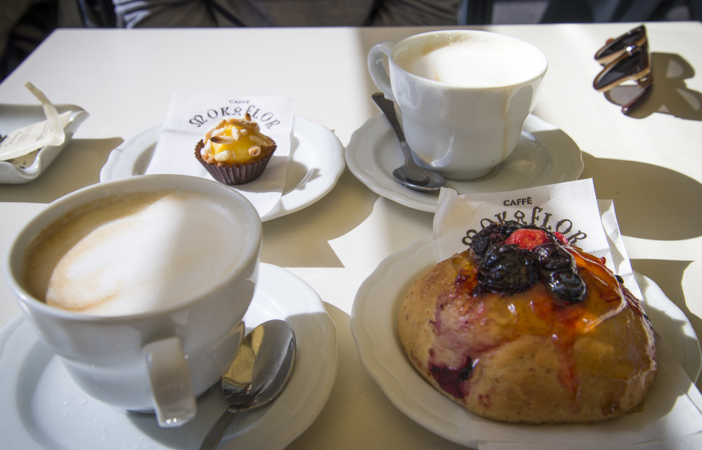 Our standard Italian breakfast of cappuccino and pastry, Caffe Maka Flor, Firenze, Tuscany