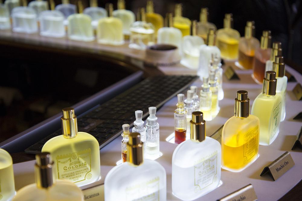 Perfume counter at  Officina Profumo-Farmaceutica di Santa Maria Novella, 1221, Firenze, Tuscany