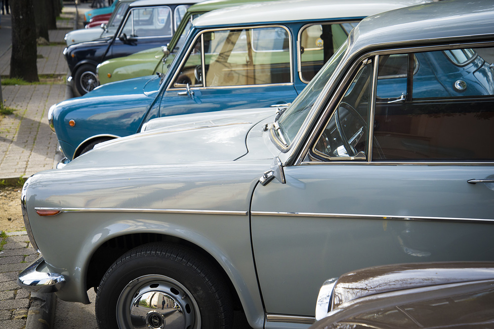 A row of vintage Fiat cars outside of Siena, Tuscany