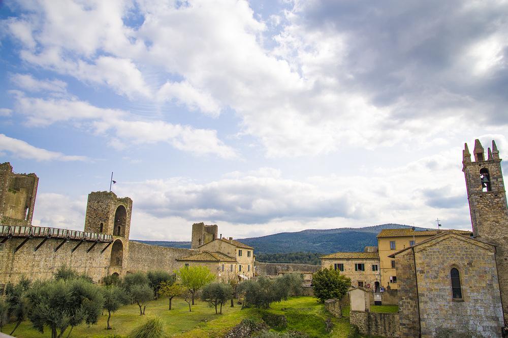 Wall ruins of Monteriggioni, a medieval village near Siena, Tuscany