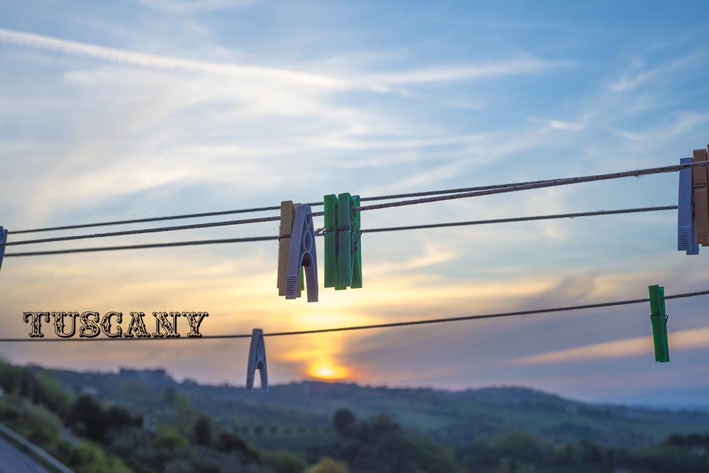 Clothespins and sunset seen from Gambassi, Italia