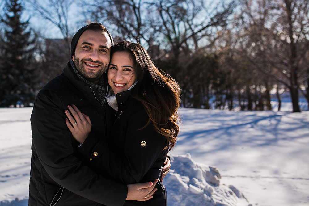 Winter engagement photos Winnipeg