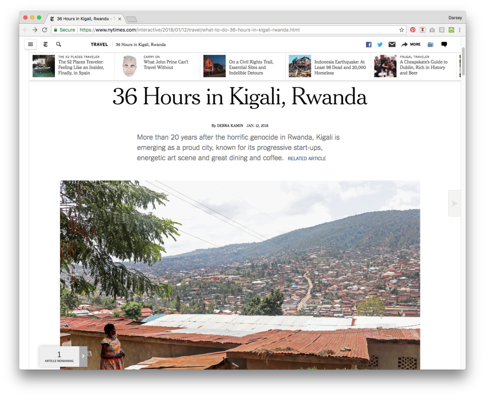"""- TWB featured in NY Times'""""36 Hours in Kigali, Rwanda""""as a must-visit location."""