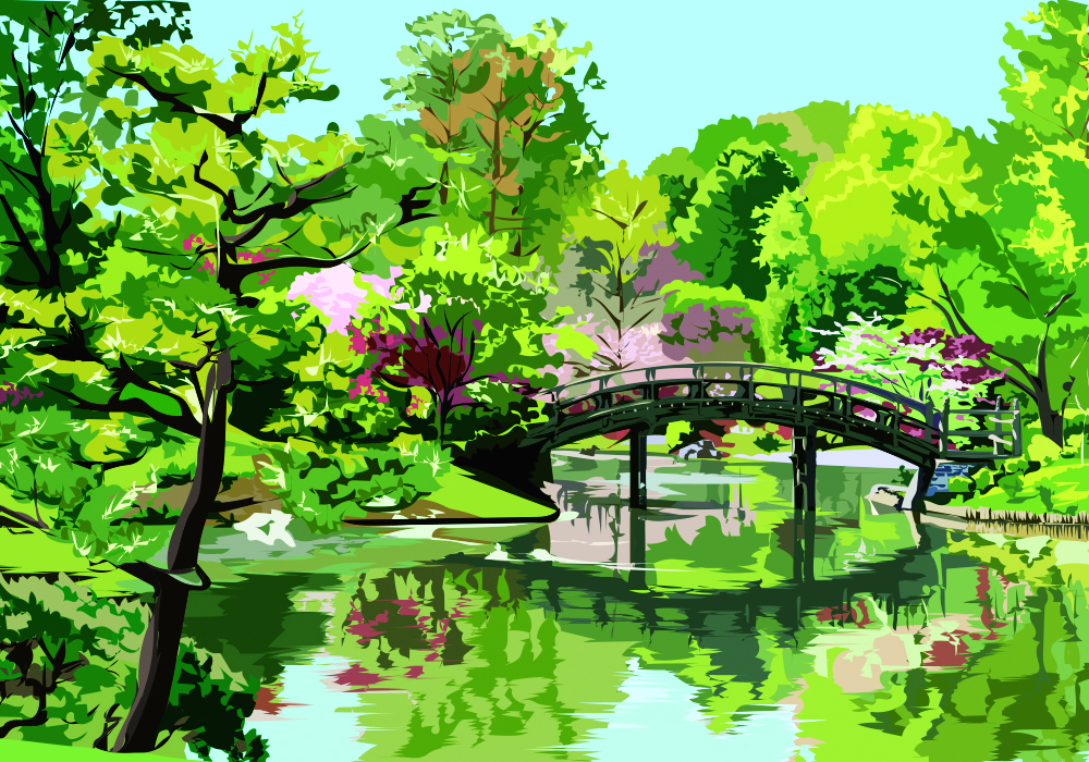 Japanese Garden in Spring, Mark Hurd