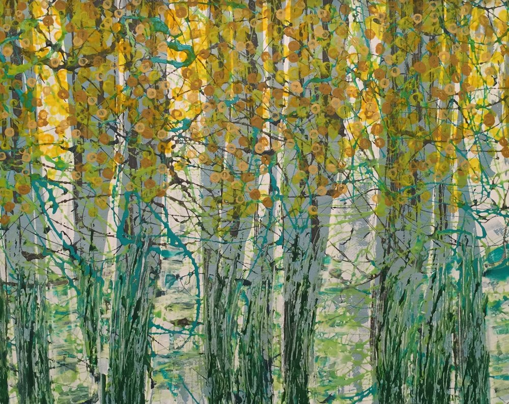 sarah mac ewan, birches in aqua/yellow