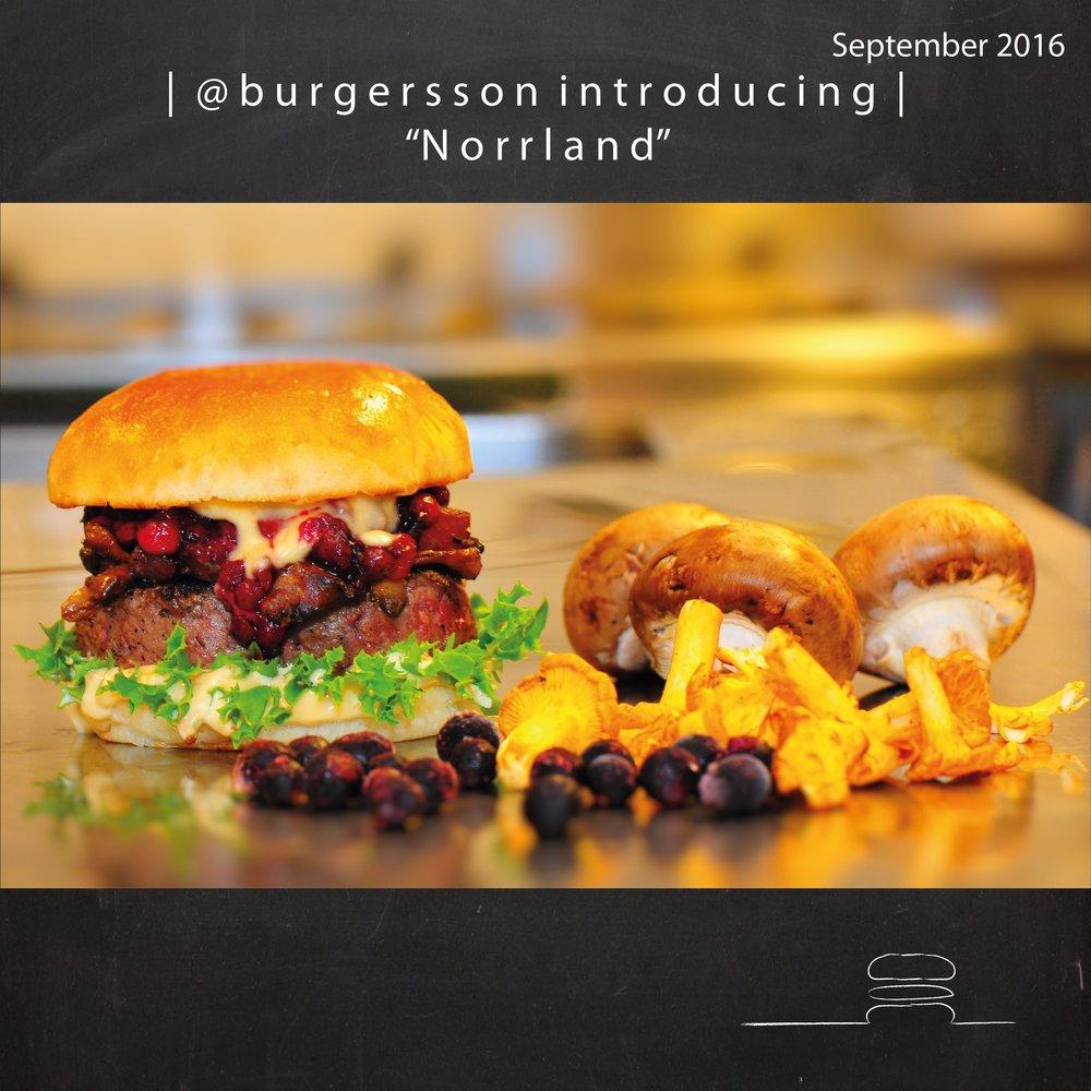 "September months burger @burgersson is ""Norrland""."