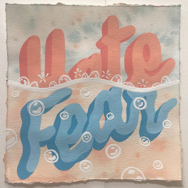 """Hate = Fear  8"""" x 8""""  gouache on paper  #gouache #sketch #paperstudy #illustration #typography #lettering #waveform #therapy"""