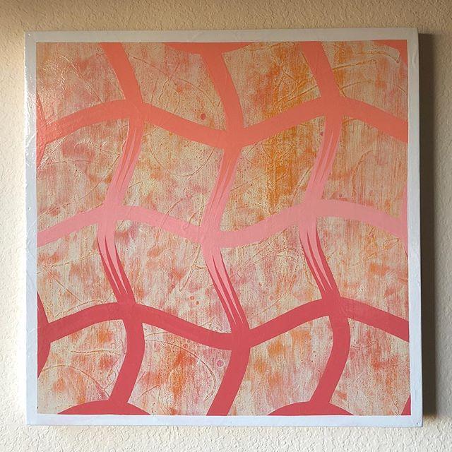 "Enamel on wood panel 24""x24"" . . . . . #abstract #warm #wavey #psychedelic #flow #pink #orange #contemporaryart #painting #color #enamel #woodpanel #handofhauser"