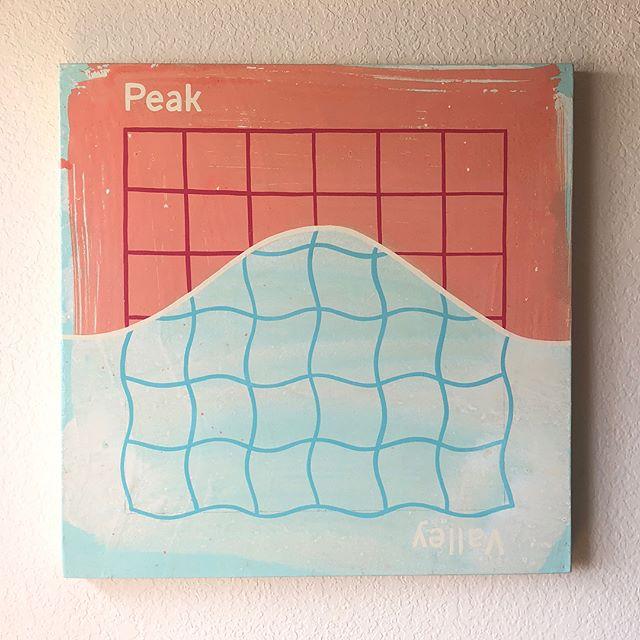 "Peaks and Valleys 24""x24""  enamel on wood panel . . . . . #peaksandvalleys #upsanddowns #roughwiththesmooth #life #journey #rhythm #enamel #woodpanel #abstract #art #contemporaryart"