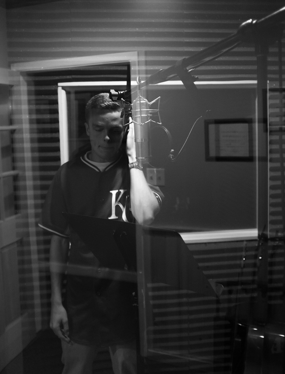 Lucid getting ready to cut some ad-libs for a verse.