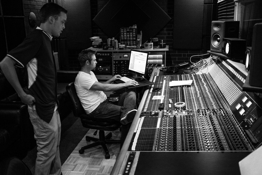 Ludic checking out the final mix of the track.