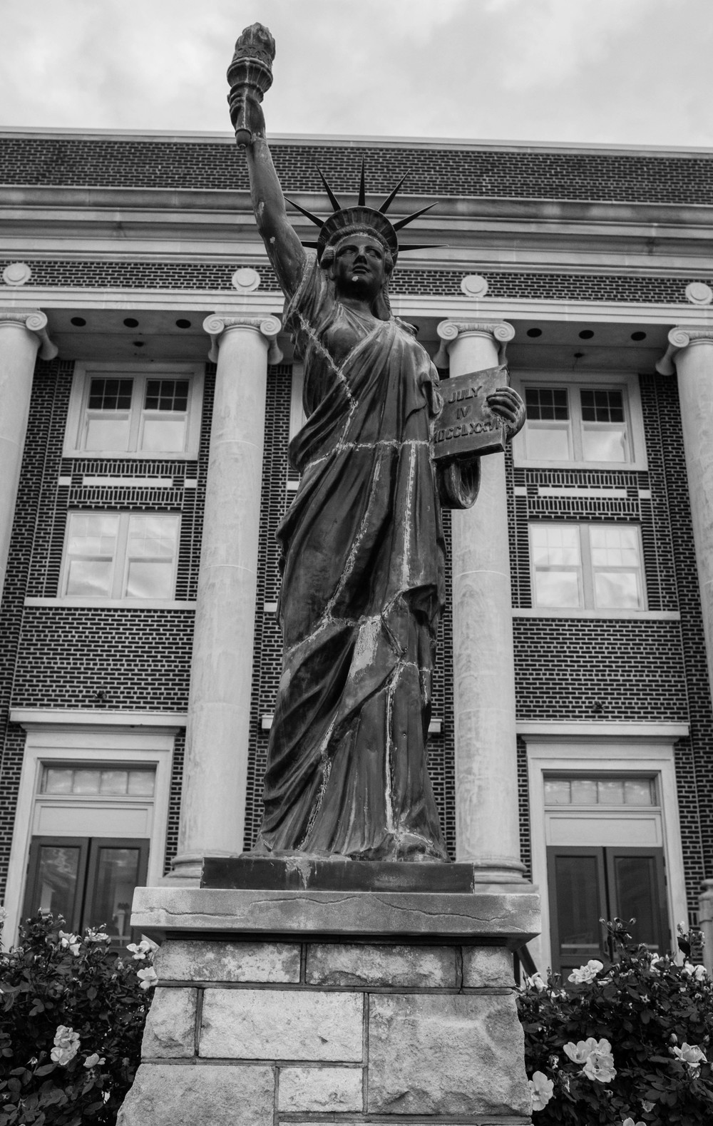 This mini Statue of Liberty was in front of the civic center... I could be wrong, but I think at one time it had broke an they super glued it back together.