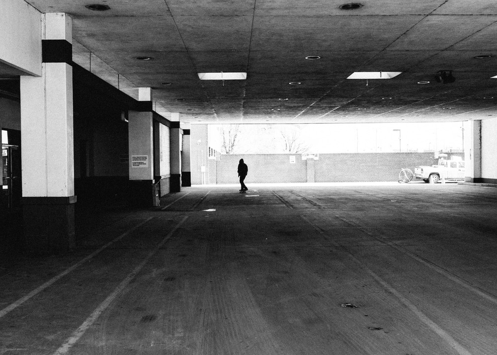A loner walking near the Greyhound station on Broadway.