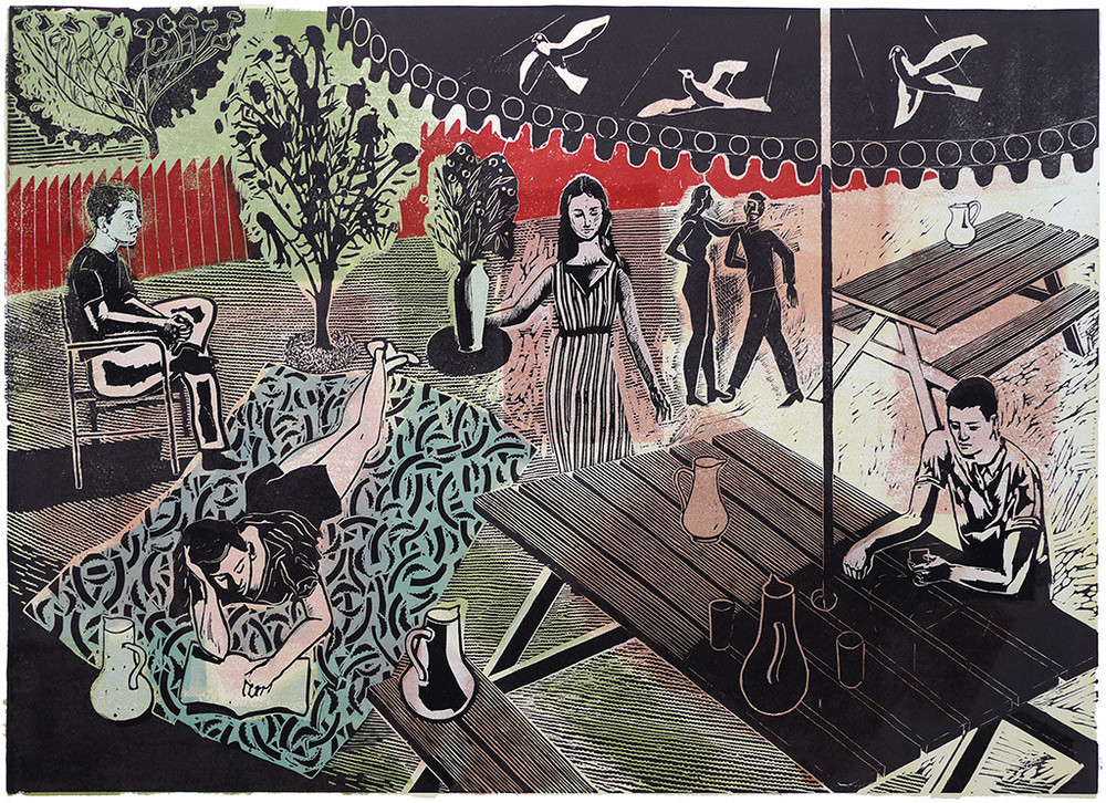 'Waiting on the afternoon'   Colour Lino cut, 2013, printed on fabriano hp paper  Edition of 18, signed, Image size: 61 x 44cm  £275.00 unframed