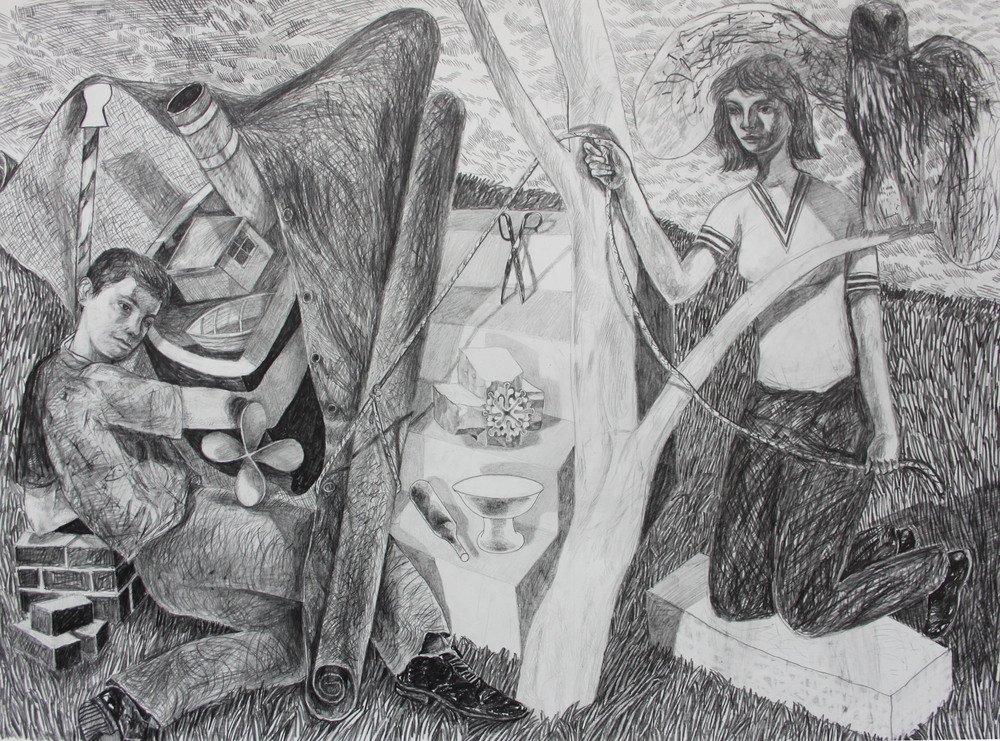 'Covered Find'  Pencil on Fabriano hp paper, 2014, 76 x 55 cm   SOLD