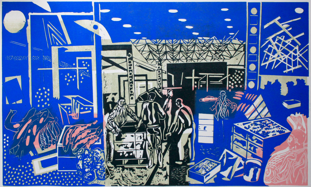 ' Billingsgate '   Colour Linocut, 2014, printed on Fabriano hp paper  Edition of 30, 45cm x 75cm, signed  £275.00 unframed