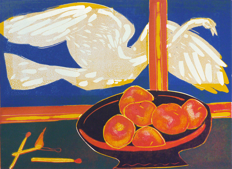 'Fruit and Flame'   Reduction Linocut,  2014, Printed on Fabriano hp paper  Image size: 230mm x 320mm,  Edition size: 20, signed   £180.00 unframed