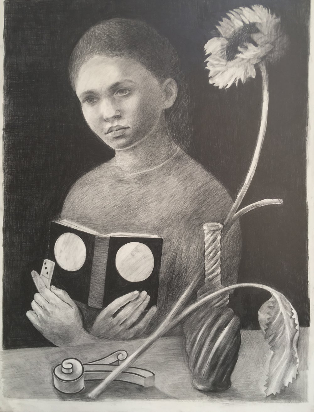 Girl with Moth still life