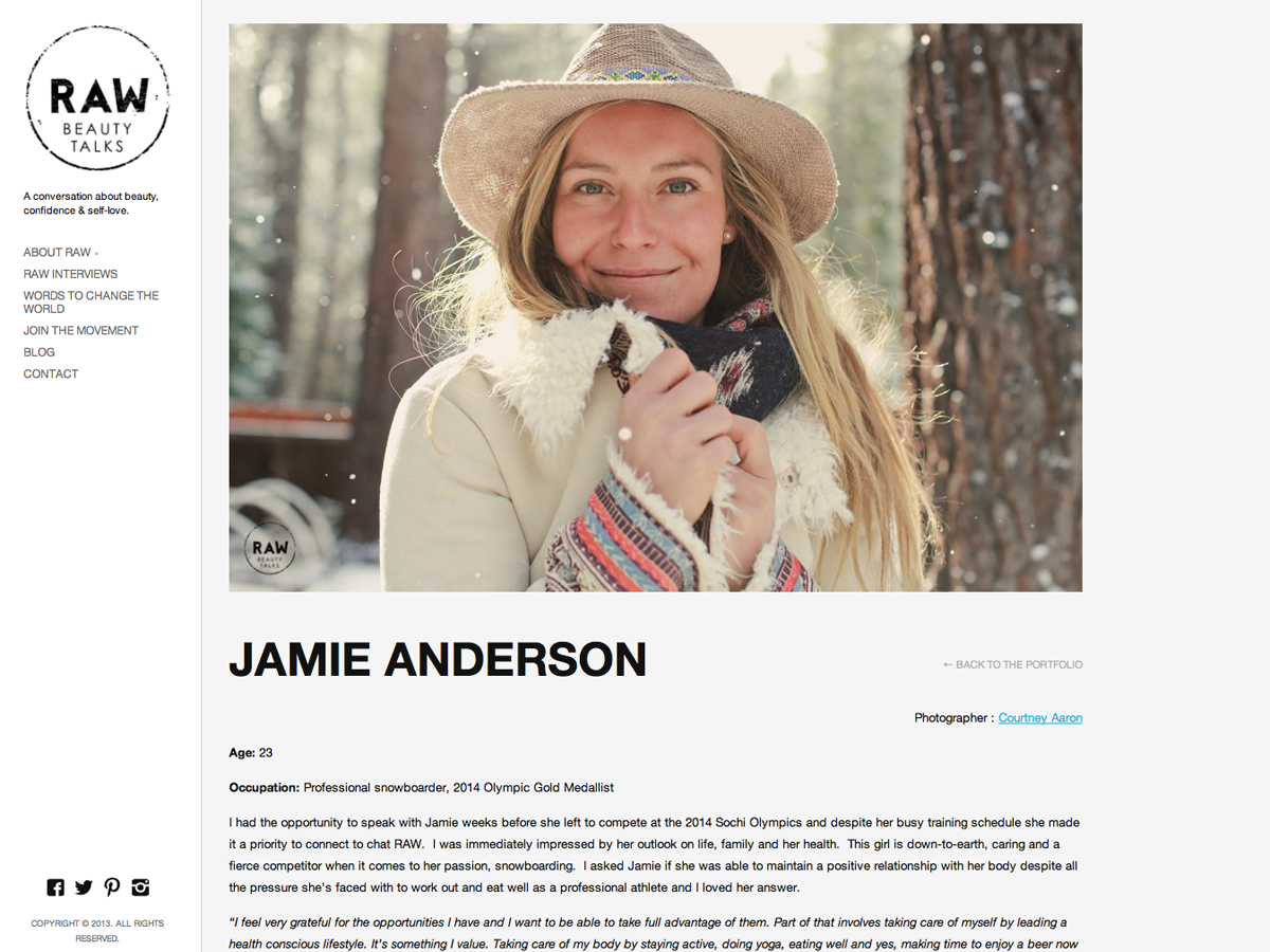 Jamie Anderson Raw beauty talks