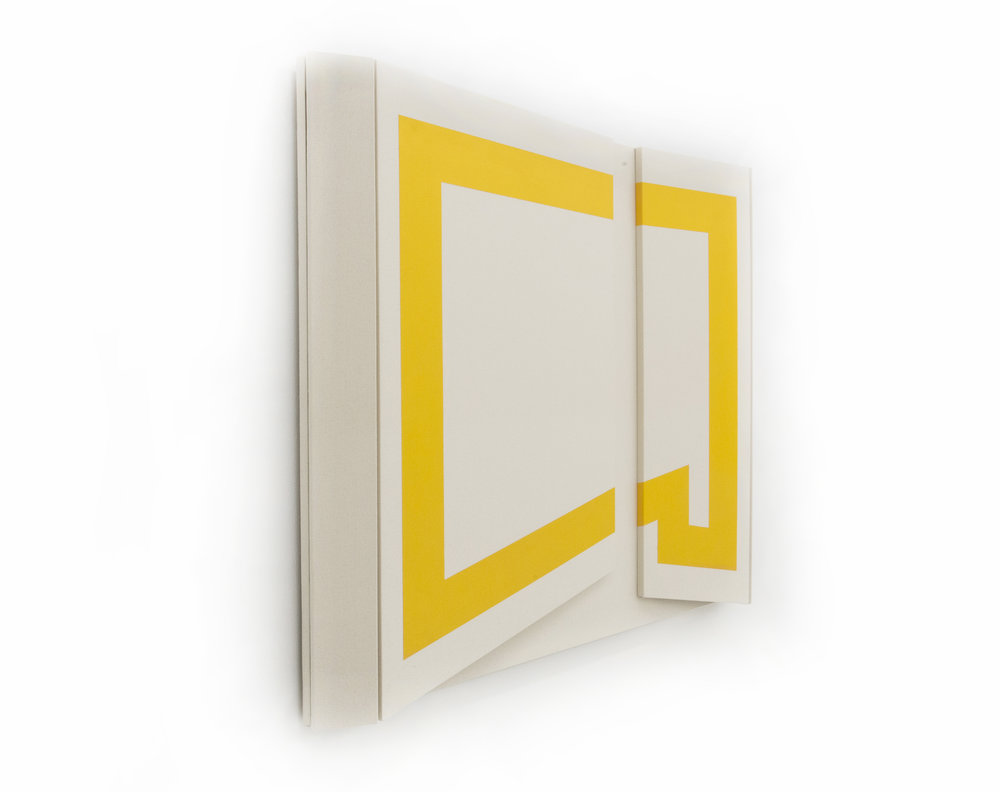 "Untitled Yellow III    - 48"" x 56  "" x 4.5""    Canvas & paint over wood"